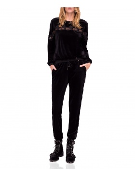 Velvet casual trousers with lace detail