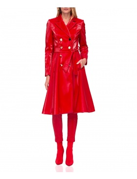 Coat with metallic buttons
