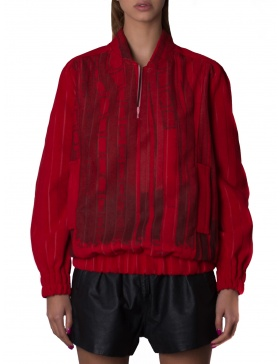 Red digital printed bomber jacket