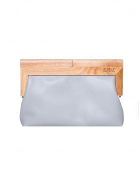 Light grey and wood clutch
