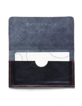 Leather business card holder - navy