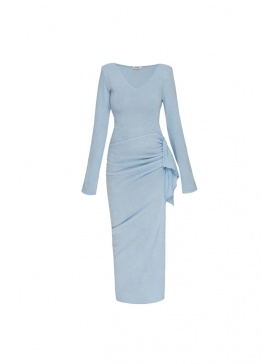 Rona blue v neck dress