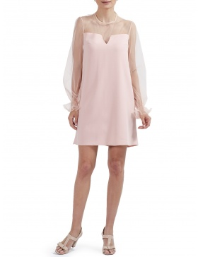 Marianne Mini Dress with Geometric Neckline and Puffed Sleeves