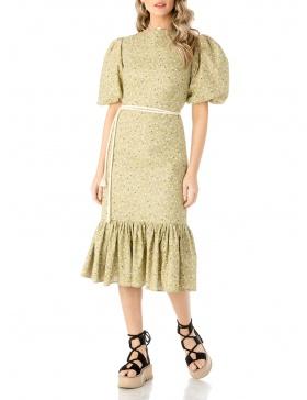 Print poplin midi dress