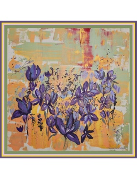 Irises in the Field Silk Scarf