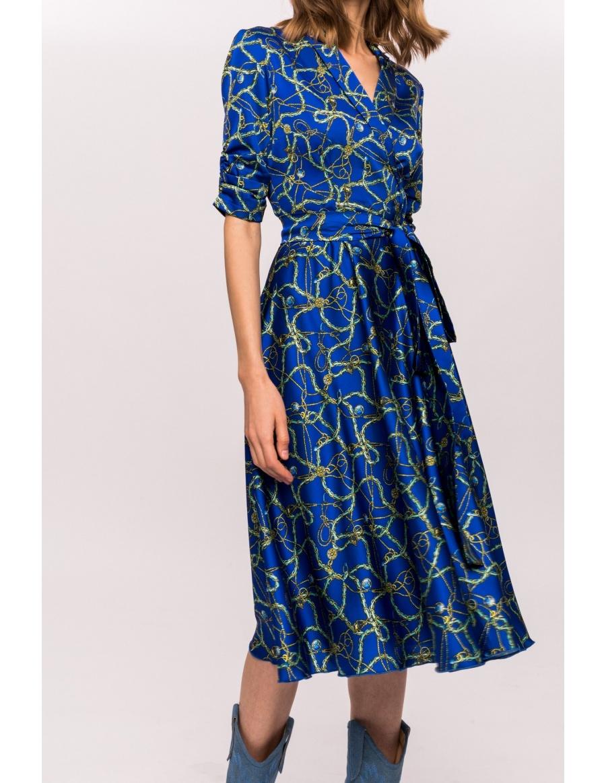 Flare printed dress with waist band | Nissa