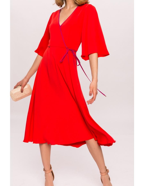 Contrasting trimming midi dress | Nissa