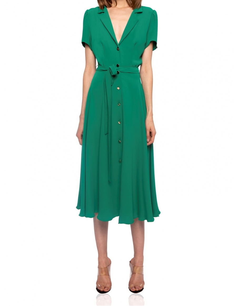 Veil fit and flare dress with golden buttons | Nissa