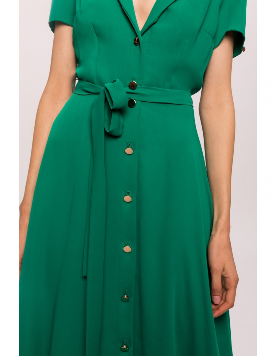 Veil fit and flare dress with golden buttons