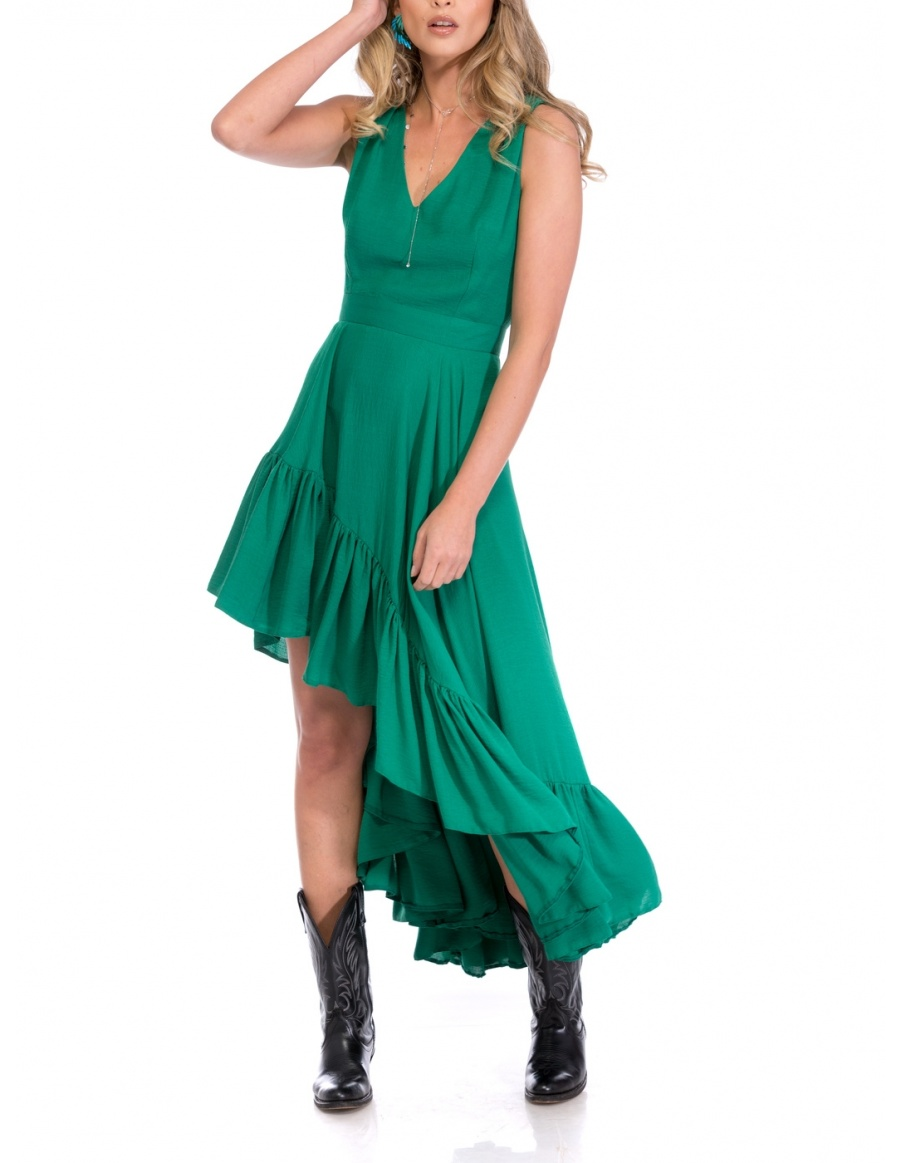GREEN ASIMETRIC DRESS | Cloche