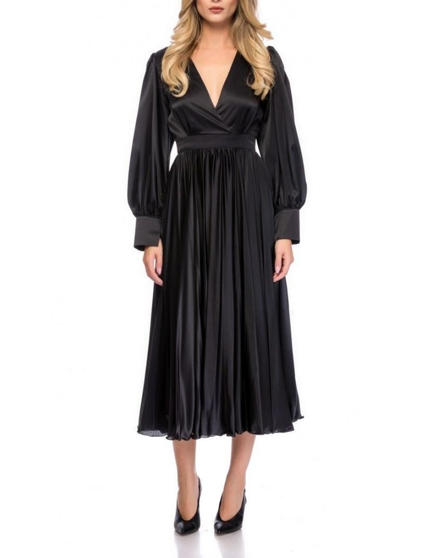 MIDI BLACK DRESS WITH SLITS | Cloche