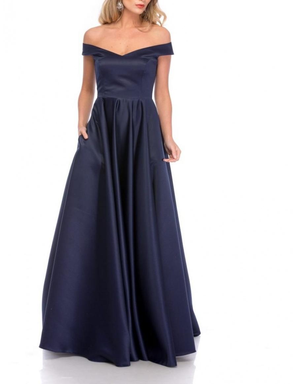 NAVY RETRO MAXI DRESS | Cloche