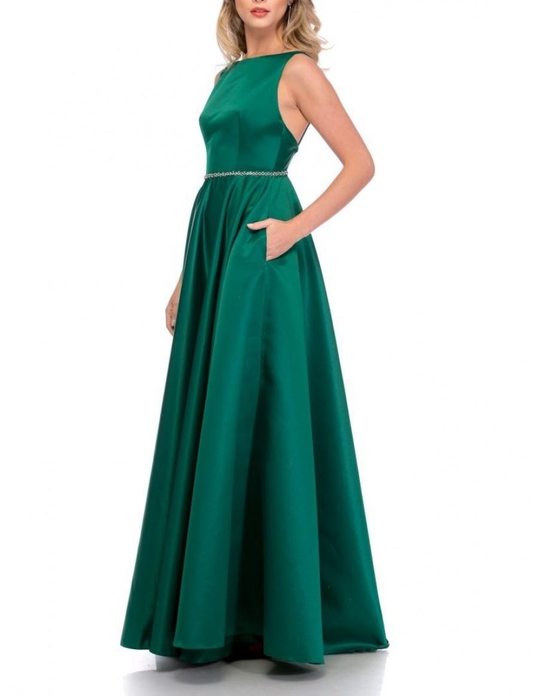 BARE BACK TAFFETA DRESS   Cloche