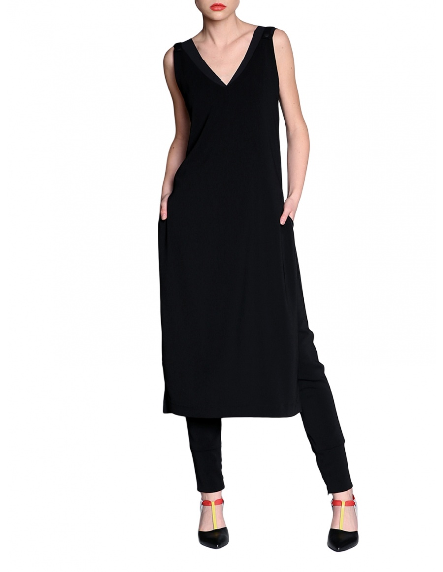 V neck dress with adjustable straps | Silvia Serban