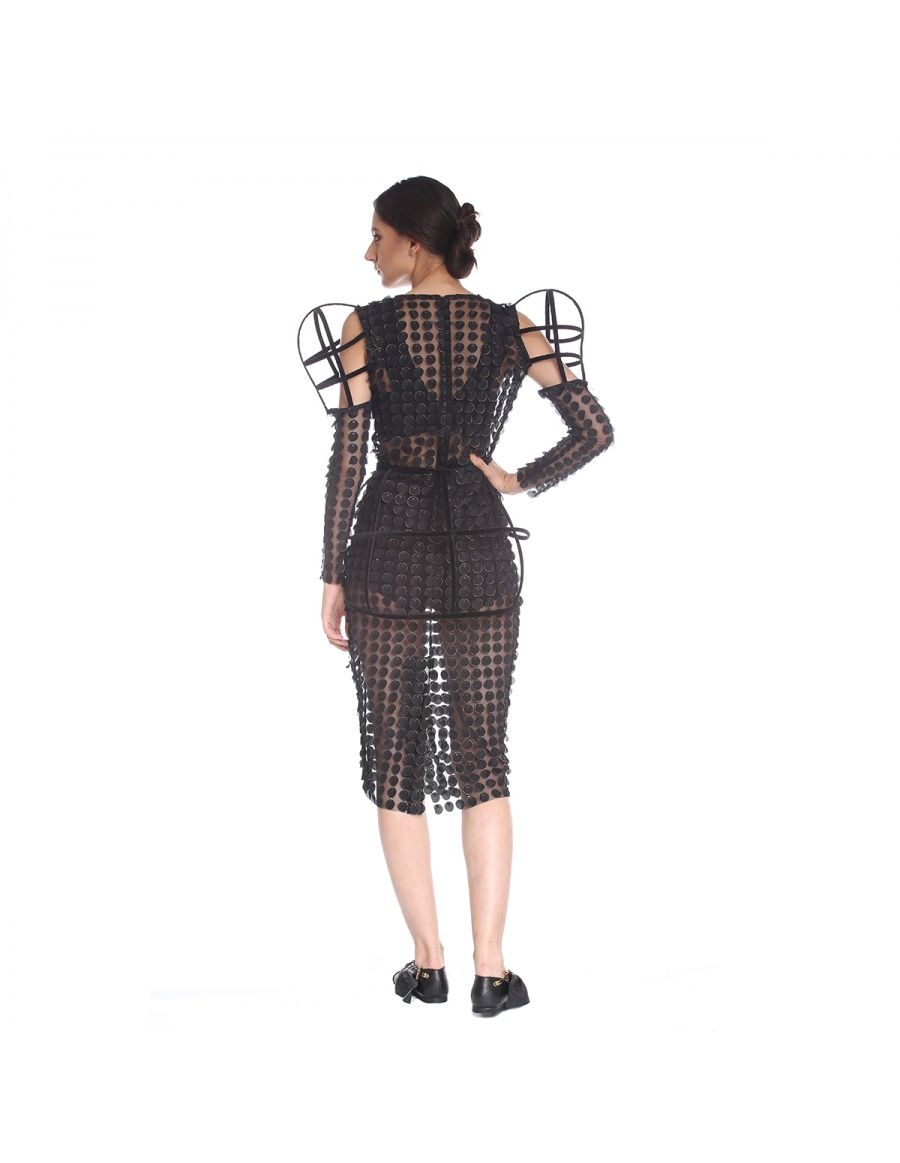 Dress with structured sleeves | Silvia Serban | Molecule F