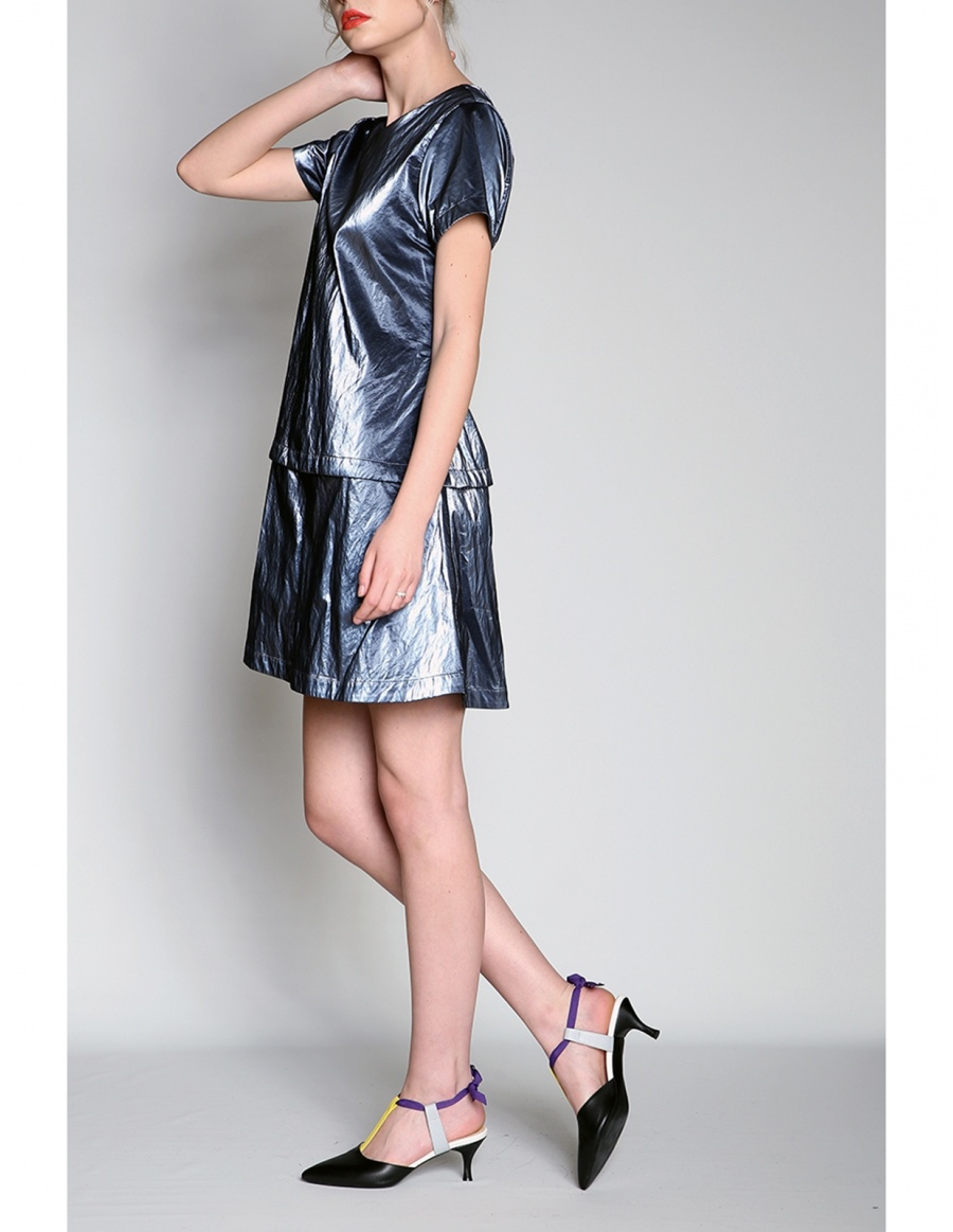 Wet look modular panel dress | Silvia Serban