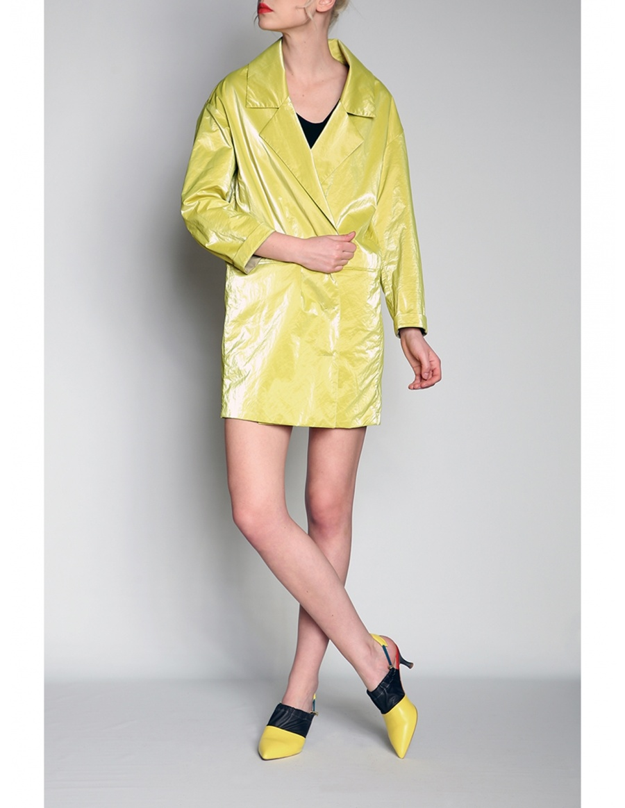 Wet look dress-jacket | Silvia Serban