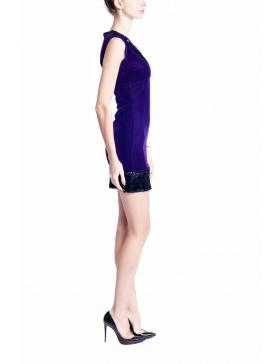 Purple Velvet Shiny Dress