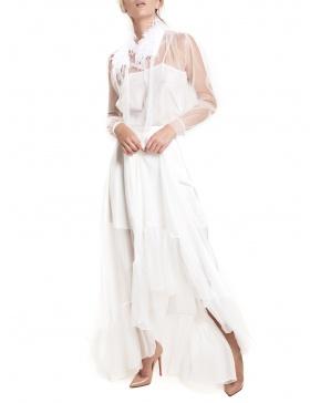 Rochie din sifon cu pene de strut
