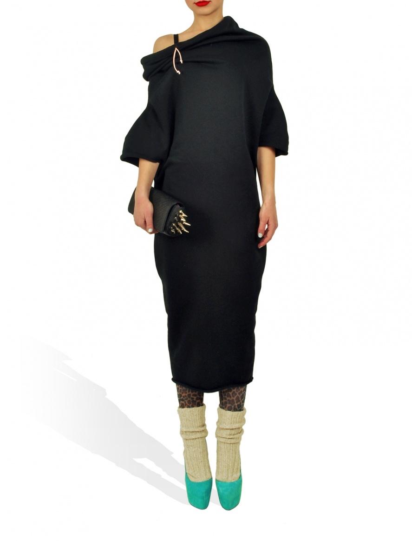 Hanorac negru Princely lungime medie