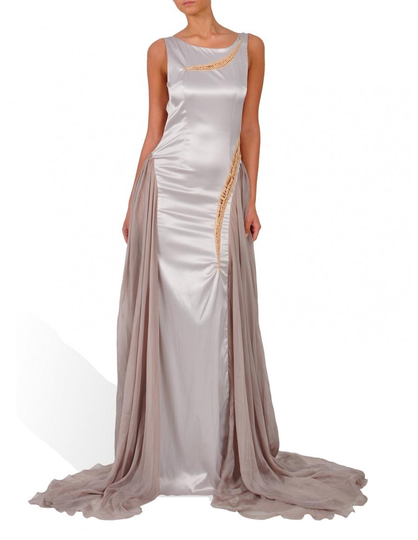 Rochie lunga argintie cu detalii din jerse auriu
