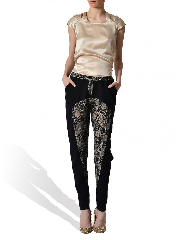 Pantaloni din tricot cu insertie