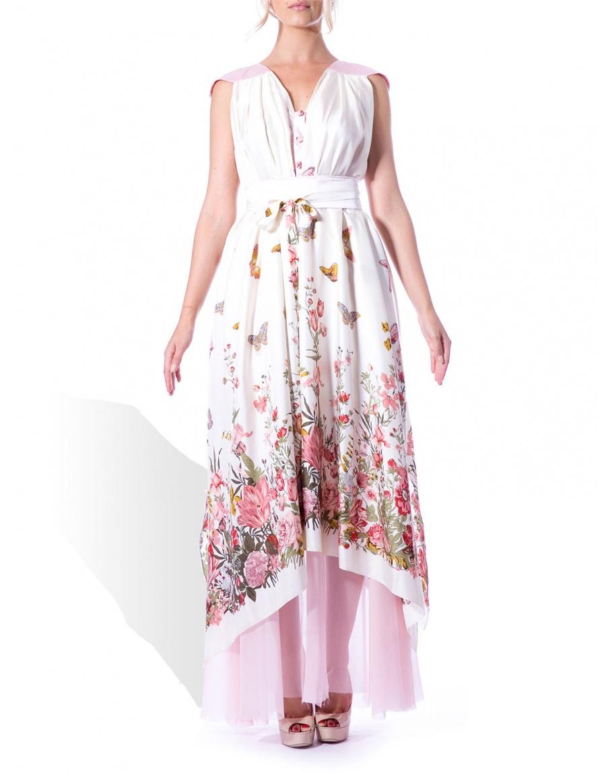 Rochie din matase cu print floral