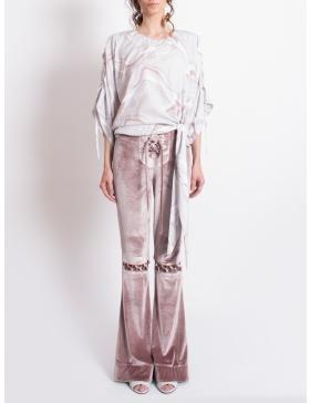 Pantaloni trapez din catifea