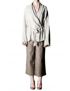 Pantaloni culottes din piele croco
