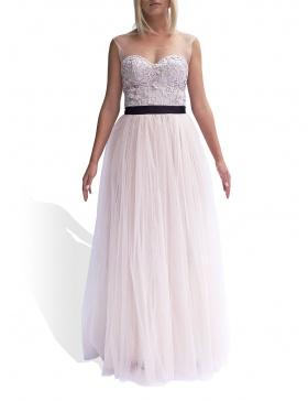 Rochie cu corset din datela brodata 3D